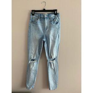 Distressed Ultra High-Waist Jeans